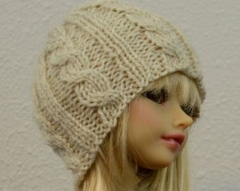 Hand-knit beanie with cable design, SD size, choose from various colors