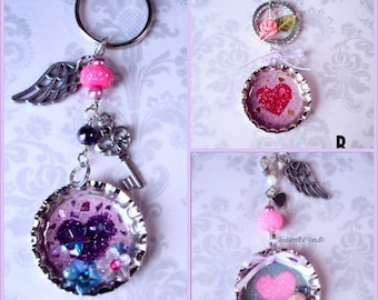 Valentine's Day Bottle Cap Glitter Heart Keychain: Assorted Selection