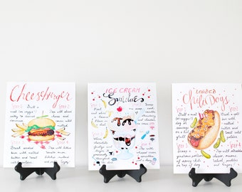Summer Recipe Print Set, Set of 3 Art Prints, Backyard Barbecue, Summer Grilling, Boardwalk Theme,Summer Decor,Host Gift,Summer Entertaining