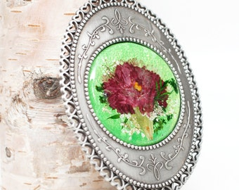 Carnation Stand and hand mirror - real pressed flower, under 30 gift idea, mothers day gift