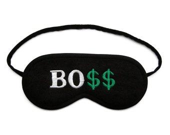 Best Boss Sleep Mask, Sleeping eye mask, Dollar eye mask, Text sleepmask, Office party man gadget, Funny word gift for him, Millionaire gift