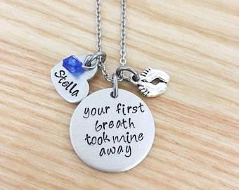 Mothers Day for new mom - Baby Shower Gift for mom - Your first breath took mine away - hand stamped necklace - personalized gift for mom