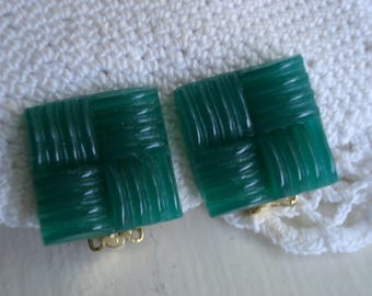 Vintage Art Deco Green Jade Carved Glass Gold Clip Earrings Hip to be Square