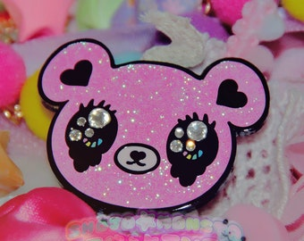 Cry Bby Kuma | Shojo Kawaii Black Nickel Plated Hard Enamel Pin