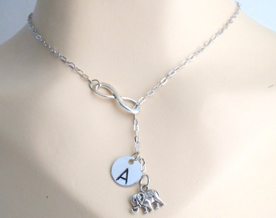 Infinity Elephant Necklace Personalized Infinty Elephant Infinity Necklace Lariat Necklace Infinity Elephant Charm Free Shippin In USA