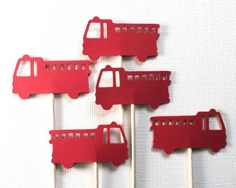 24 Fire Truck Cupcake Toppers, Red, Party Decor, Baby Showers, Birthdays, Double-Sided, Travel Theme