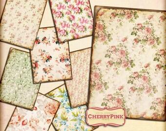 Digital Paper VINTAGE FLOWERS digital collage sheet, digital download for digital scrapbook