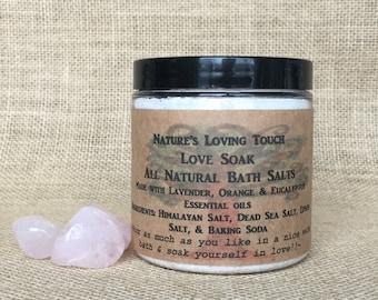 8oz All Natural Bath Salt, LOVE SOAK, Made with Lavender, Orange and Eucalyptus Essential Oil. Soak in Bath Salt and Heal Both Mind and Body