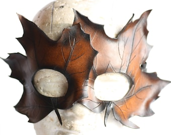 steampunk leather mask,double leaf mask ,made to order