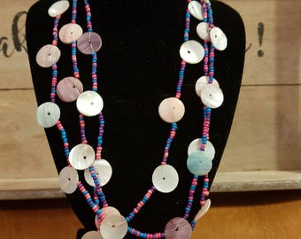 Long seed bead and shell Boho necklace