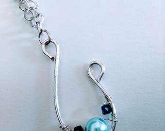 Wire-wrapped Swarovski Pearl necklace