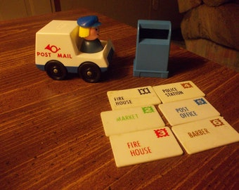 vintage fisher price little people mailgirl truck mailbox and mail
