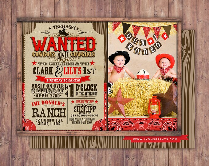 Vintage Cowboy Invitation, boy birthday, cowgirl, rodeo, western invitation, wanted poster, rodeo poster, cowgirl, horse, invite, twins