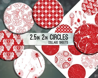 Apple Red and White Patterns 2.5in and 2 Inch Circle Digital Collage Sheet Download Printable Images for Gift Tags Cards Scrapbooking JPG