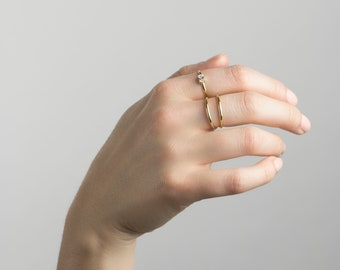 Double band ring, Double ring, Open ring, Gold ring, Minimalist ring, Dainty ring, Stacking ring, Stackable ring, Delicate ring