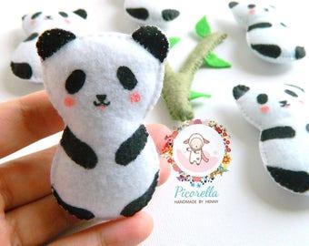 A set of Felt Panda Party Favor, Felt Panda Baby Shower Favor, Felt Panda Plush, Felt Panda Birthday Party Favor, Felt Panda Keychain