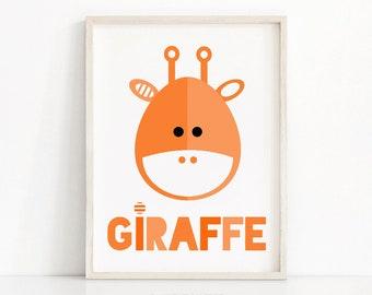 Giraffe nursery wall art, orange nursery print, printable art for kids, animal nursery decor art, kids print, baby animal print, giraffe art
