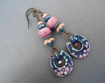 Boho earrings,Dangle earrings,Purple earrings,Lilac earrings,Ceramic earrings,Glass earrings,Artisan Lampwork earrings,Mulitcolour earrings