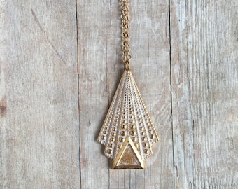Art Deco Necklace Whitewash Brass Jewelry Triangle