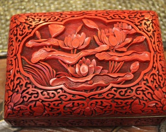 Antique Chinese Carved Red Cinnabar Lacquer Box