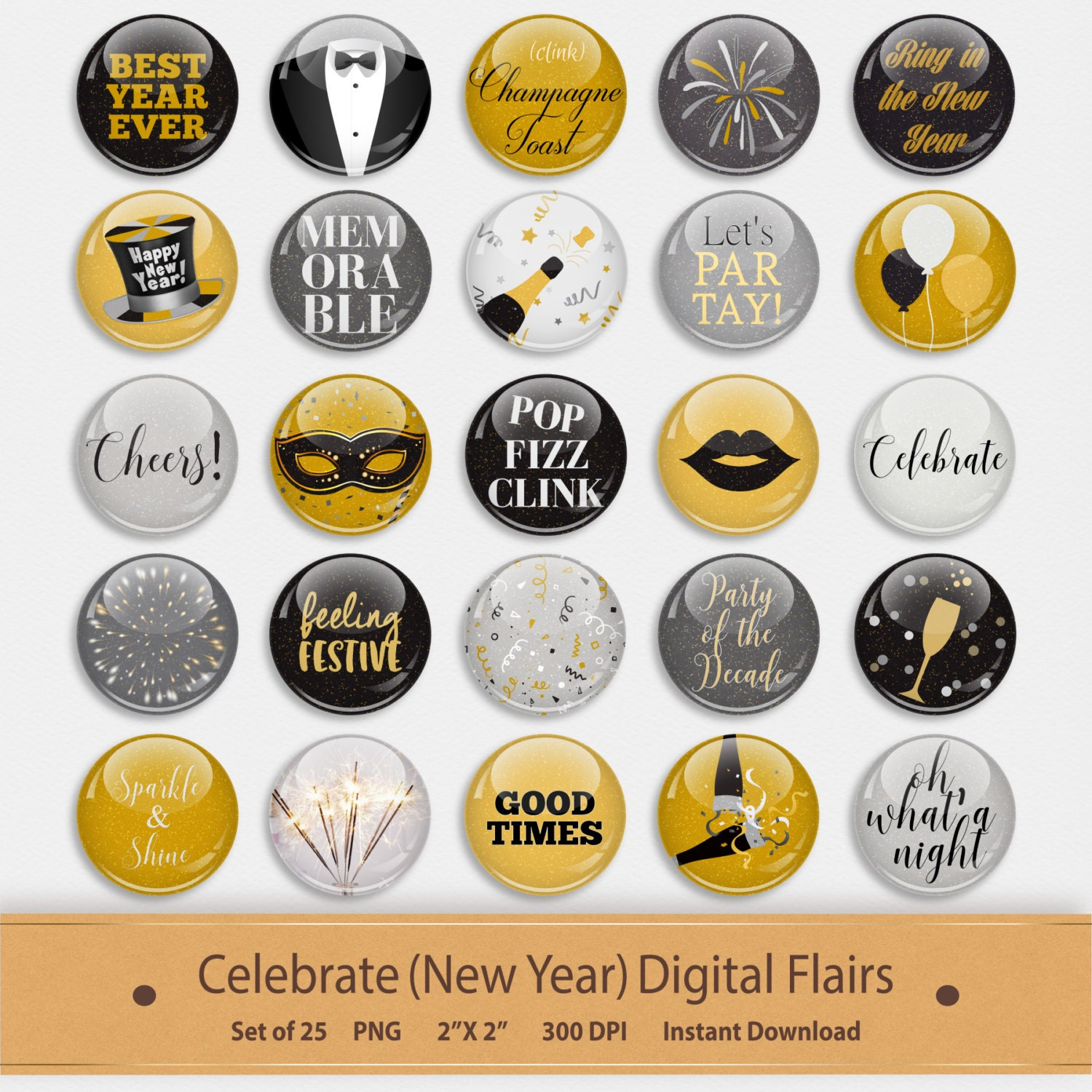 Celebrate New Years Digital Flairs Scrapbook Elements Pins
