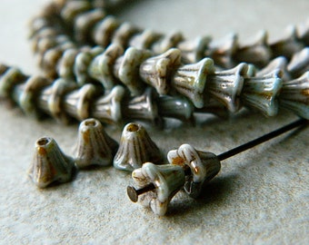 WHOLESALE Mottled Grey Flower Czech Glass Beads, Baby Bell Flower Beads, 6x5mm (300pcs)