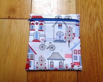Sandwich Baggie Waterproof Lined Zip Pouch - Straw Case - Sandwich bag - Snack Bag - Bikini Bag - Lunch Bag Make Up Bag House Bicycle