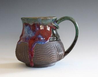 Unique coffee mug, 14 oz, handmade cup, handthrown mug, stoneware mug, wheel thrown pottery mug, ceramics and pottery