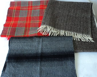Three French vintage wool scarves with minor imperfections  (05725)