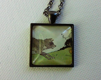 Dog Chasing a Ball -  1920's Ephemera Pendant - One of a Kind