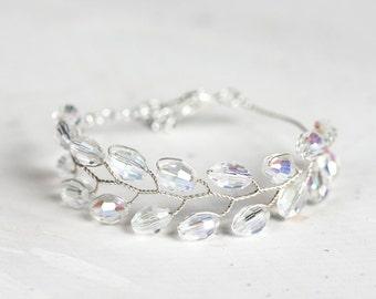 Silver crystal bracelet Wedding bracelet Bridal crystal bracelet Silver bracelet Wedding jewelry Bridal bracelet Crystal bracelet 692