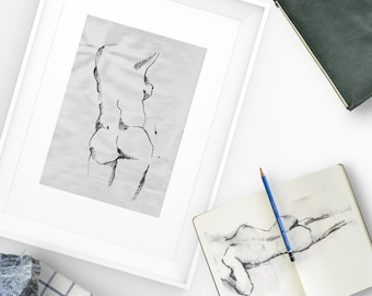 Nude 01 - ink drawing. Illustration print