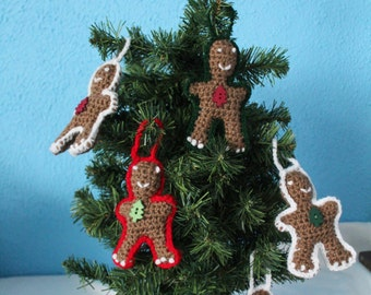 Two Crochet Gingerbreadmen Ornaments