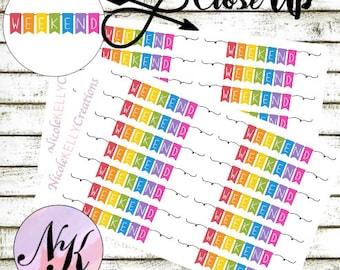14 Weekend Stickers, Stickers, Banner sticker, use with Erin Condren Planner(TM), Happy Planner, planner, Travelers Notebook