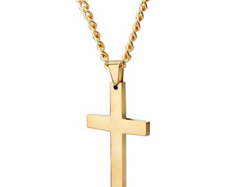 Mens highly polished black stainless steel cross pendant mens 14k gold highly polished stainless steel cross pendant and curb cuban link chain necklace set aloadofball Choice Image