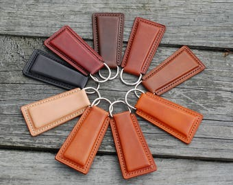 Leather keychain personalized; Leather key holder, key fob; Key chain name tag; Handstitched, personalized christmas gift for him & her