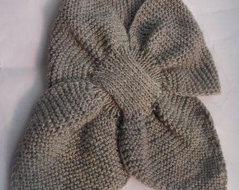 Gray wool collar, handwoven on two needles with alpaca wool, ready to ship