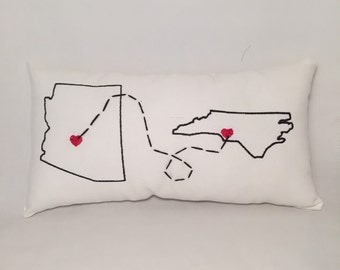Embroidered State pillow - Phoenix to Charlotte - White Denim