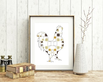 Mid Century Modern Wall Art, Chicken, rooster decor