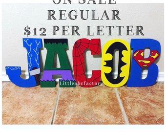 11in Superhero Letters, nursery letters, marvel nursery, superhero nursery, superhero decor, superheroes, batman, marvel letters, avengers