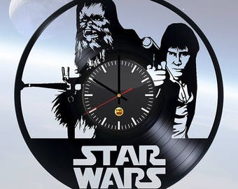 Luke Skywalker Chewbacca Star Wars Vinyl Record Wall Clock