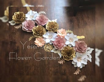 Rose gold paper flowers