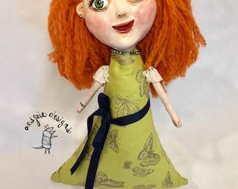 Handmade Pretty Girl Art Doll in Green - Ooak Art Doll