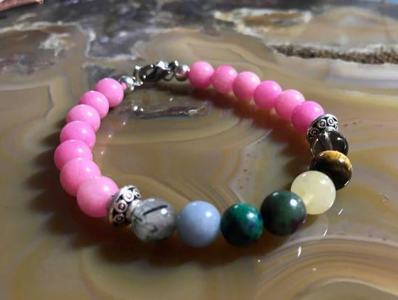 Pink Jade Chakra Bracelet