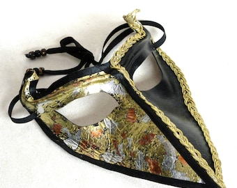 Leather Venetian Raven Half and Half Mask, Handsome Black and Gold Crow Eyemask with Horns, Handcrafted Bird Masquerade Ball Halfmask