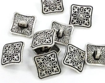 10 Pewter 13.5mm Button Clasp Antique Silver PBF324