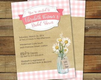 Picnic Bridal Shower Invitation - Pink Gingham Bridal shower - Picnic Wedding Shower