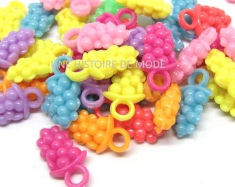 40 charms grape acrylic random and mixed colors 20 mm x 11 mm - pearls - scrapbooking - jewelry - pendants