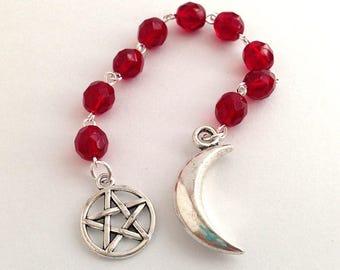 Garnet Glass Gratitude Beads // Moon & Pentacle // Goddess // Pagan // Wiccan