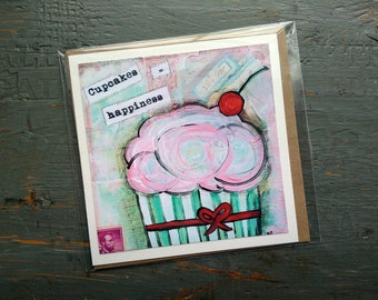 "SALE! LARGE greeting card 5x5"", Cupcake card, Whimsical Cupcake, Sale Card, Clearance Card, Mixed Media Art card, Cupcakes = Happiness"
